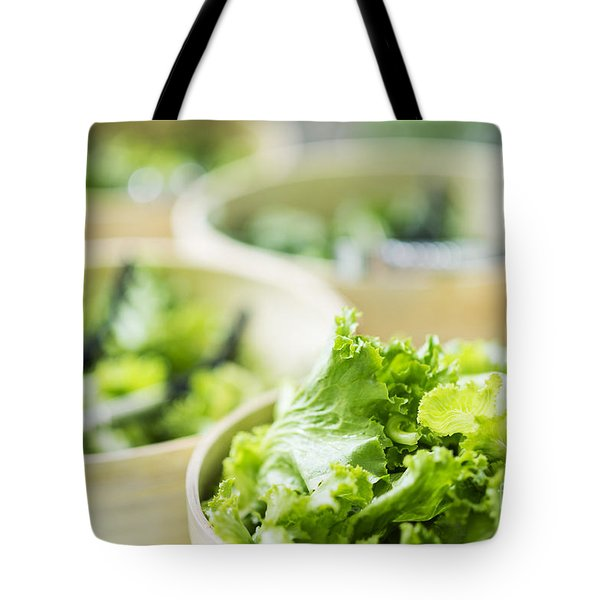 Lettuce Salad Leaves In Bowls In Restaurant Display Tote Bag