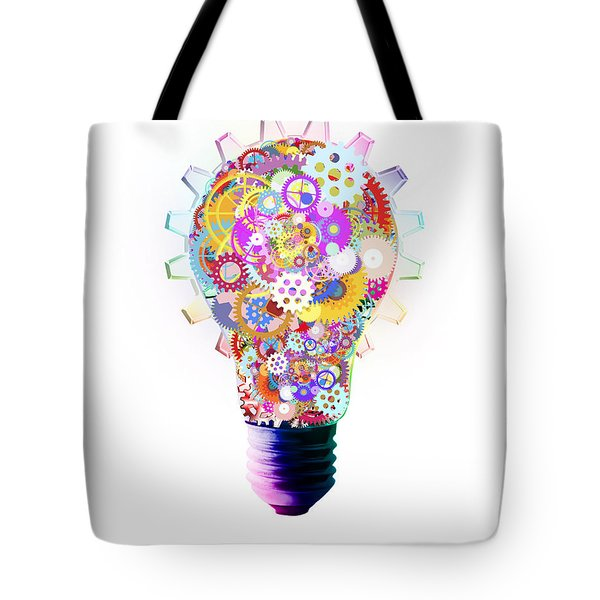 Light Bulb Design By Cogs And Gears  Tote Bag by Setsiri Silapasuwanchai
