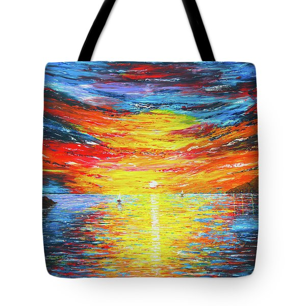 Tote Bag featuring the painting  Lighthouse Sunset Ocean View Palette Knife Original Painting by Georgeta Blanaru
