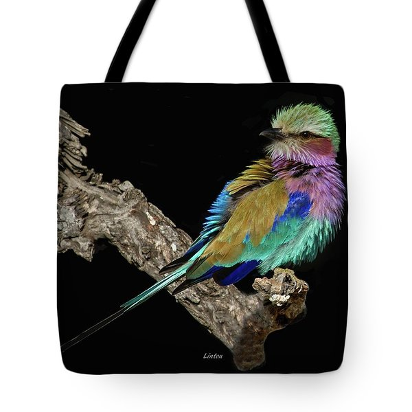 Tote Bag featuring the photograph Lilac-breasted Roller by Larry Linton