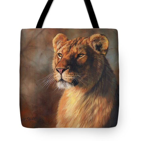 Tote Bag featuring the painting Lioness Portrait by David Stribbling