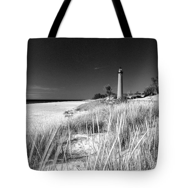 Tote Bag featuring the photograph Little Sable Light Station - Film Scan by Larry Carr
