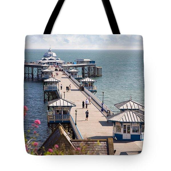 Llandudno Pier North Wales Uk Tote Bag by Mal Bray