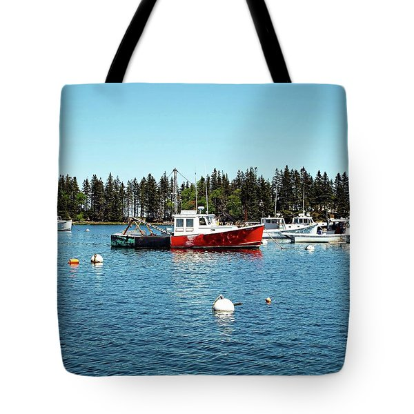Tote Bag featuring the digital art Lobster By Night - Sleep By Day, Camden, Maine by Joseph Hendrix