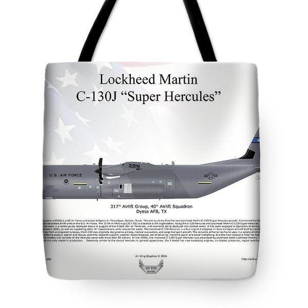 Lockheed Martin C-130j-30 Super Hercules Tote Bag by Arthur Eggers