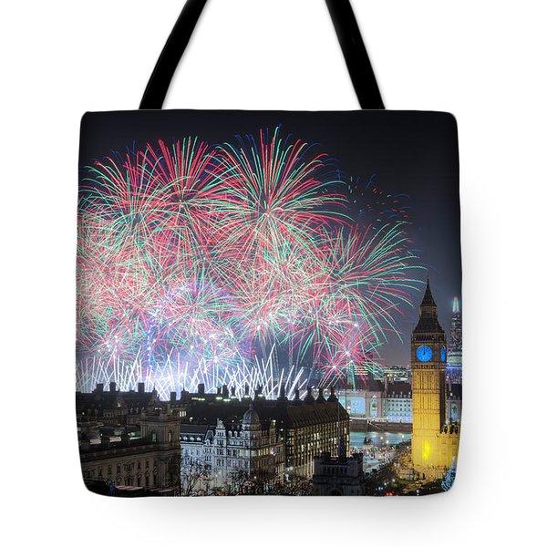 London New Year Fireworks Display Tote Bag