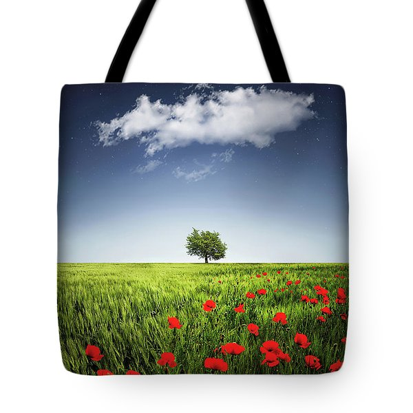 Lone Tree A Poppies Field Tote Bag