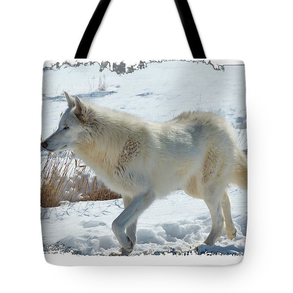 Lone White Wolf Tote Bag