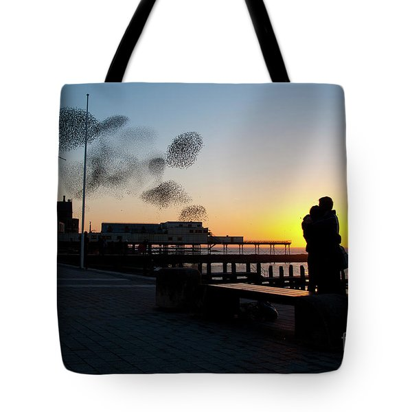 Love Birds At Sunset Tote Bag