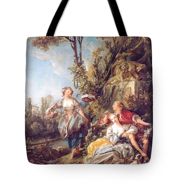 Tote Bag featuring the painting Lovers In A Park by Pg Reproductions