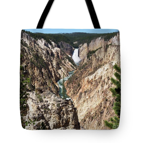 Lower Falls From Artist Point In Yellowstone National Park Tote Bag by Louise Heusinkveld