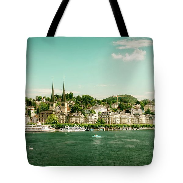 Tote Bag featuring the photograph Lucerne Panorama by Wolfgang Vogt