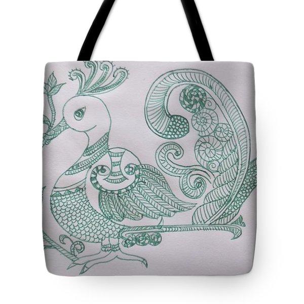 Madhubani Peacock Tote Bag
