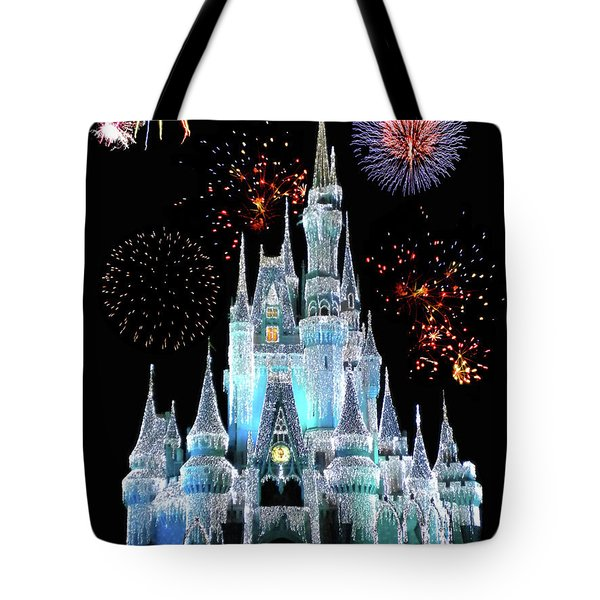Magic Kingdom Castle In Frosty Light Blue With Fireworks 06 Mp Tote Bag