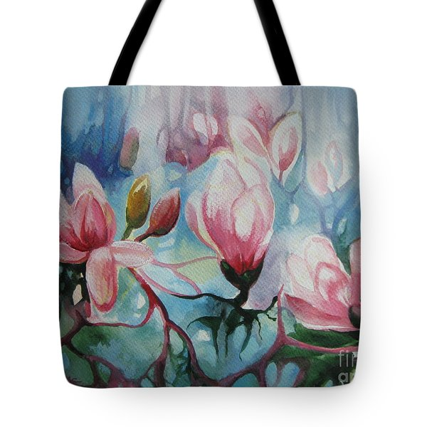 Tote Bag featuring the painting Magnolia by Elena Oleniuc