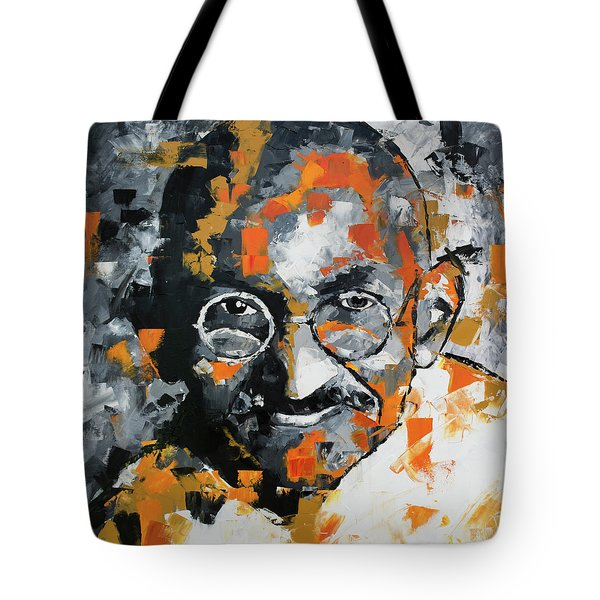 Tote Bag featuring the painting Mahatma Gandhi by Richard Day