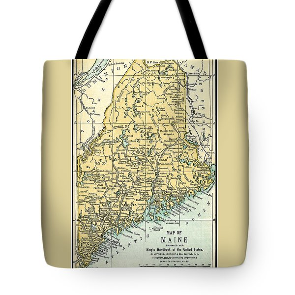 Maine Antique Map 1891 Tote Bag