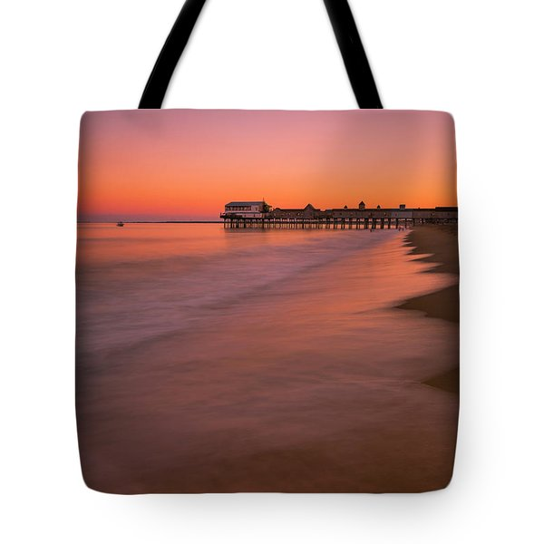 Tote Bag featuring the photograph Maine Old Orchard Beach Pier Sunset by Ranjay Mitra