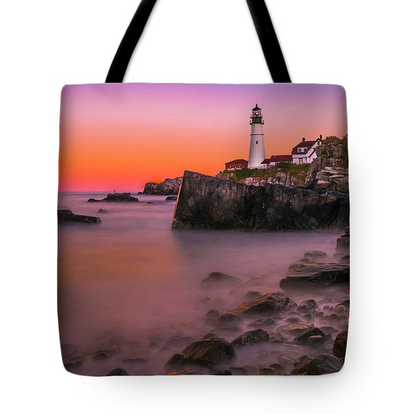 Tote Bag featuring the photograph Maine Portland Headlight Lighthouse At Sunset by Ranjay Mitra