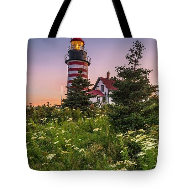 Maine West Quoddy Head Light At Sunset Tote Bag