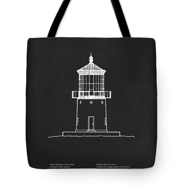 Makapuu Point Lighthouse - Hawaii - Blueprint Drawing Tote Bag