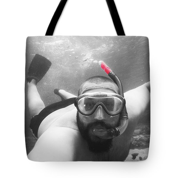 Male Model Snorkling Underwater Tote Bag