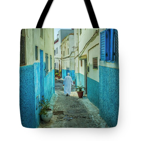 Man In White Djellaba Walking In Medina Of Rabat Tote Bag
