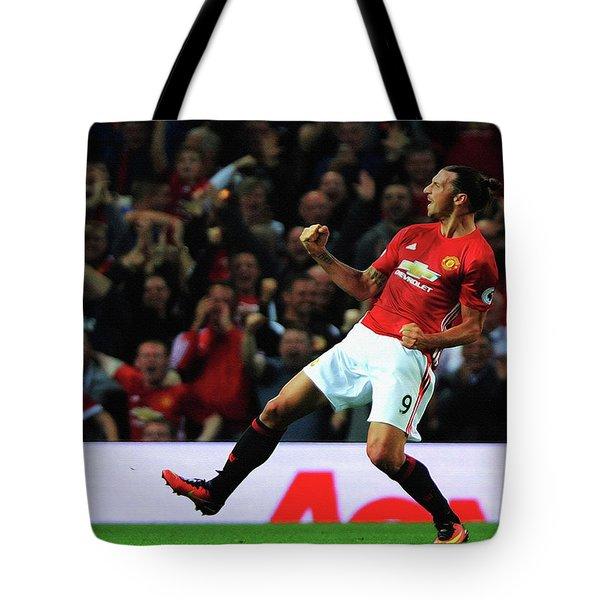 Manchester United's Zlatan Ibrahimovic Celebrates Tote Bag