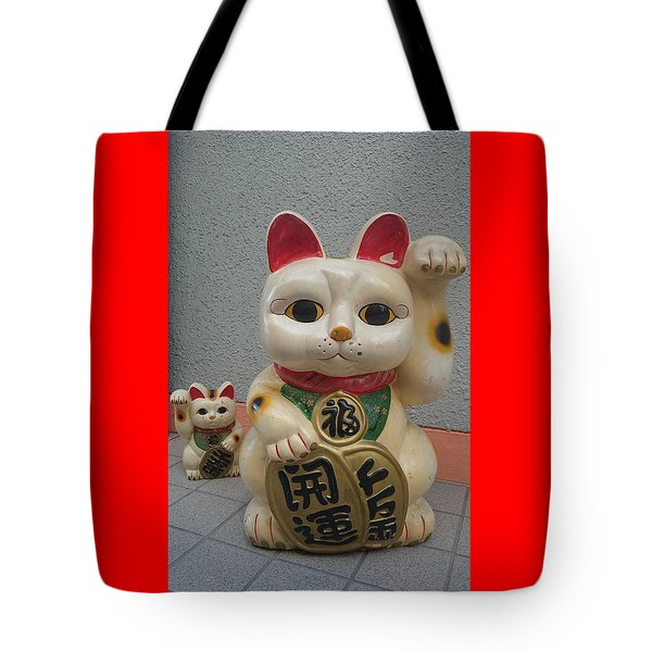 A Figure Of A Beckoning Cat, Called 'manekineko' Tote Bag