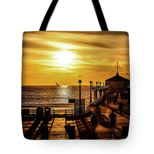 Tote Bag featuring the photograph Pier Of Gold by April Reppucci