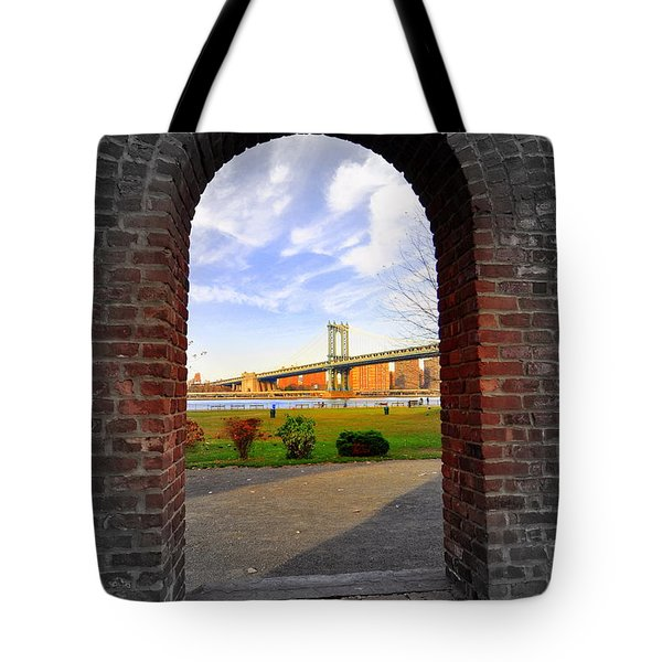 Manhattan Bridge Framed Tote Bag