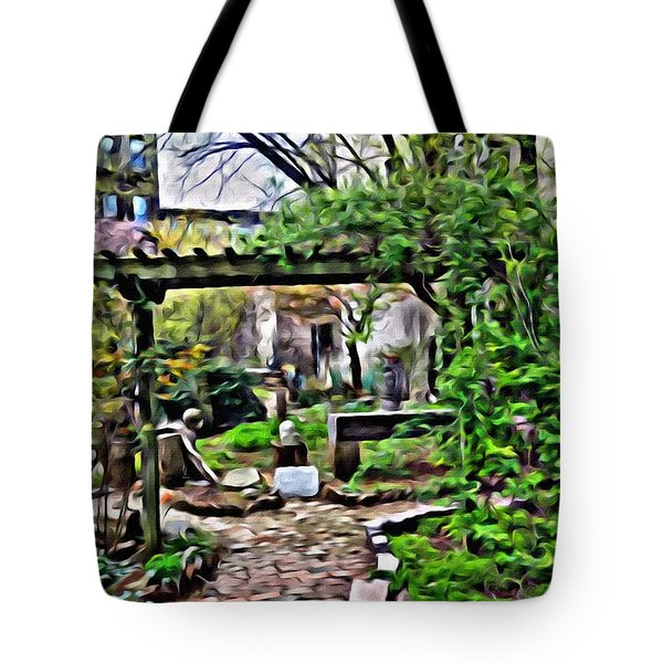 Tote Bag featuring the photograph Manhattan Community Garden by Joan Reese