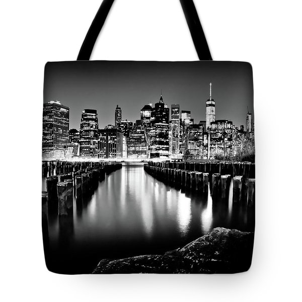 Tote Bag featuring the photograph Manhattan Skyline At Night by Az Jackson