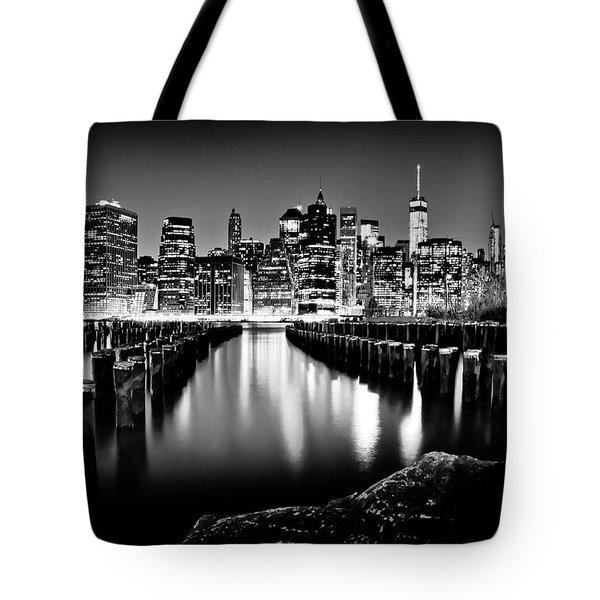 Manhattan Skyline At Night Tote Bag by Az Jackson