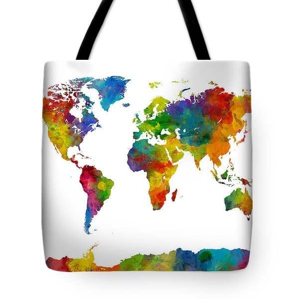 Map Of The World Map Watercolor Tote Bag