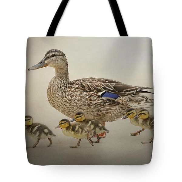 March Of The Ducklings Tote Bag by Fraida Gutovich