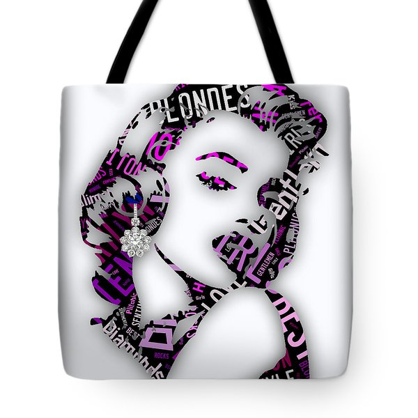 Marilyn Monroe Diamonds Are A Girls Best Friend Tote Bag by Marvin Blaine