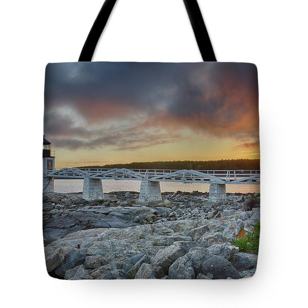 Marshall Point Lighthouse At Sunset, Maine, Usa Tote Bag