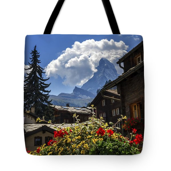 Matterhorn And Zermatt Village Houses, Switzerland Tote Bag