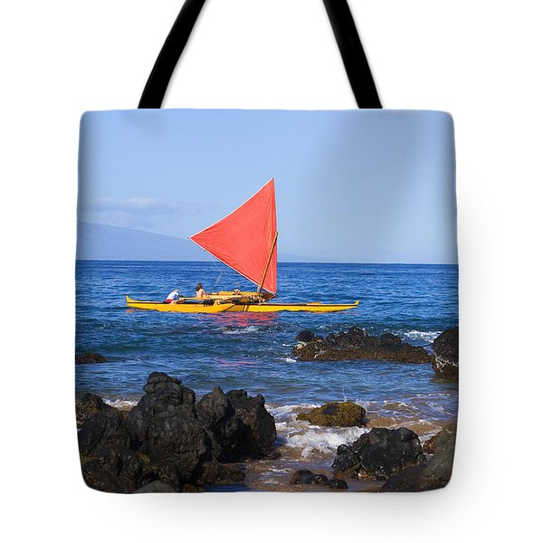 Maui Sailing Canoe Tote Bag by Ron Dahlquist - Printscapes