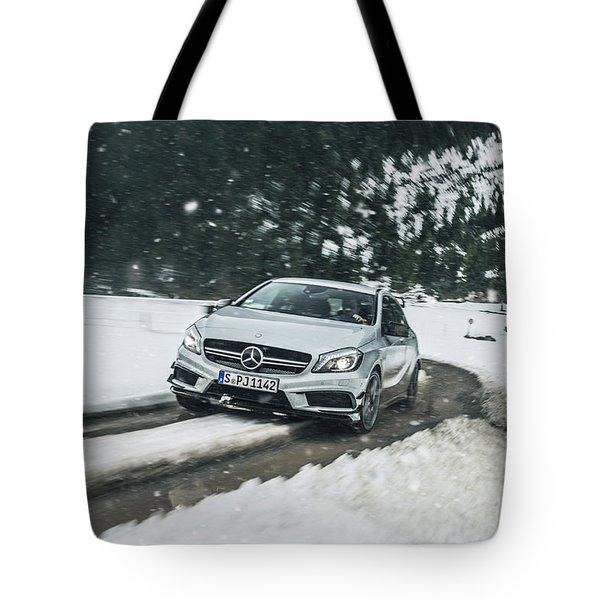 Mercedes Benz A45 Amg Snow Tote Bag