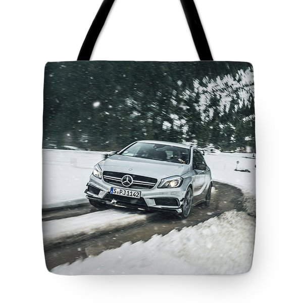 Mercedes Benz A45 Amg Snow Tote Bag