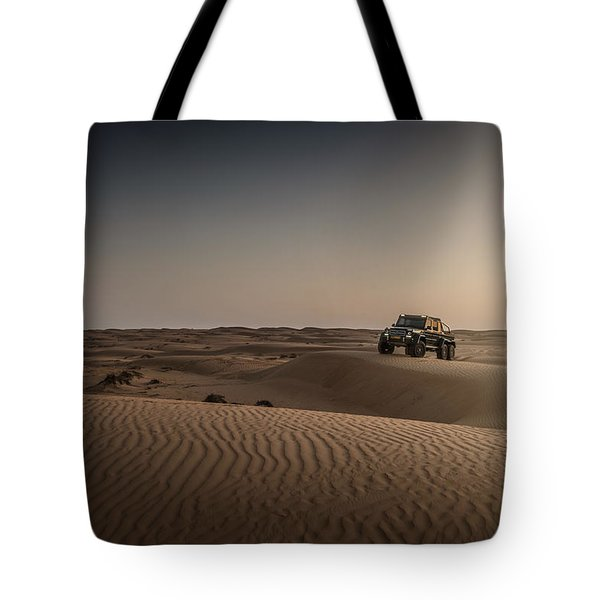 Mercedes G63 6x6 In Oman Desert Tote Bag