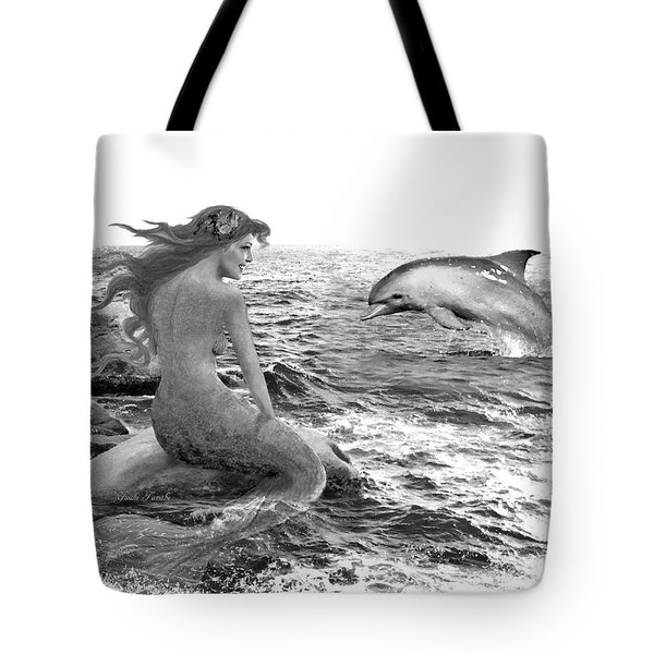 Mermaid And Dolphin B And W Tote Bag