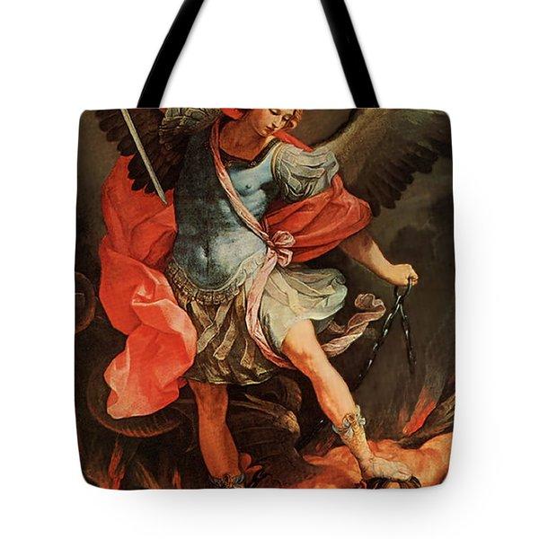 Michael Defeats Satan Tote Bag