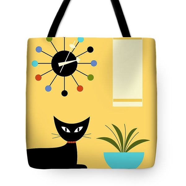 Tote Bag featuring the digital art Mid Century Ball Clock 3 by Donna Mibus