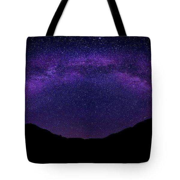 Tote Bag featuring the photograph milky way above the Alps by Hannes Cmarits