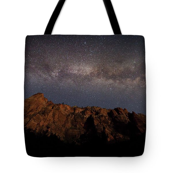 Milky Way Galaxy Over Zion Canyon Tote Bag