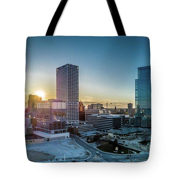 Tote Bag featuring the photograph Milwaukee Sunset by Randy Scherkenbach