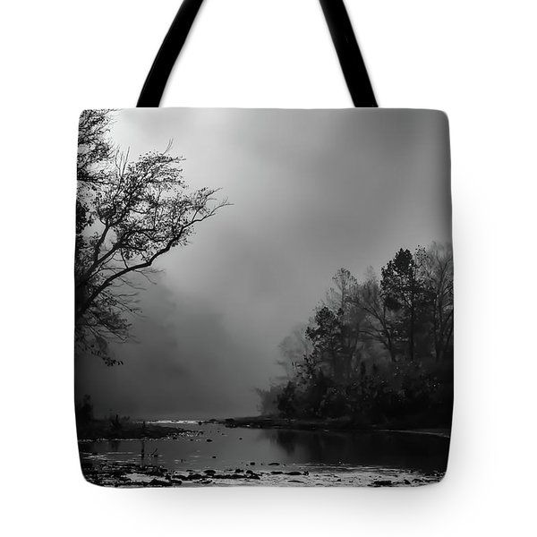 Tote Bag featuring the photograph Mist On The River by James Barber